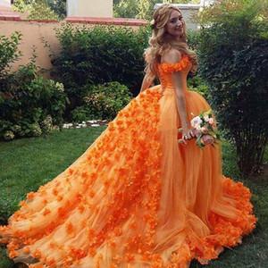 Floral Orange Quinceanera Dresses Ball Gown Vestidos de 15 anos Princess Sweet Sixteen Birthday Party Dress Off Shoulder Flowers Prom Dress