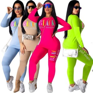 JH Womens Tracksuit Designer Two Piece Set Long Sleeves Letter Print O -Neck And Leggings Sexy Skinny Pullover Women Clothing C36