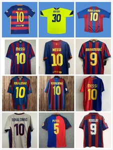 Retro soccer jersey barcelona 96 97 07 08 09 10 11 XAVI RONALDINHO RONALDO RIVALDO GUARDIOLA Iniesta finals MESSI maillot de foot 1899 1999