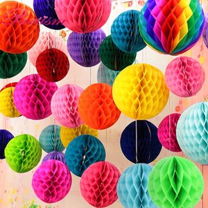 10 unids 4 '' (10cm) Papel de tejido Linterna Honeycomb Bola de alta calidad para el hogar Jardín Boda Niños Cumpleaños Decoraciones de la fiesta
