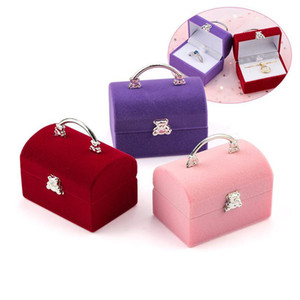 1 Piece Small Jewelry Box Velvet Wedding Ring Box Necklace Display Box Cute Bear Gift Container Case For Jewelry P jllpgL