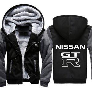 Толстовки Men GTR Car Print Куртка сгущает толстовки Мужская зимняя теплая бежевая хлопковая молния raglan пальто мужской трексуиты Masculino