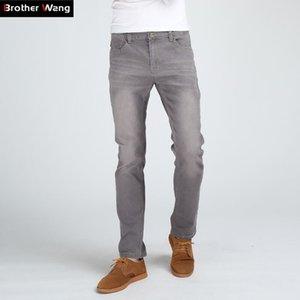Brother Wang Uomini Slim Fashion Alta Qualità Maschio Elastico Elastico Grigio Skinny Tempo libero Jeans Abbigliamento marchio