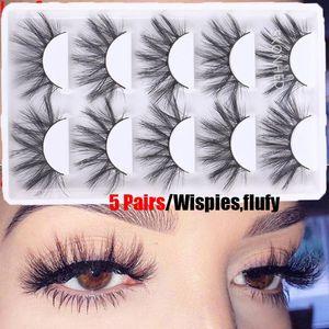 5Pairs 3D Faux Mink Hair False Eyelashes Fluffy Wispy Natural Long Lashes Handmade Crisscross Cruelty-free Eye Lash Makeup Tool