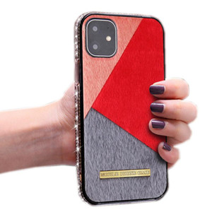 New Color blocking cell phone case for iphone 11 pro xr x xs max 8 7 6 plus SE 2020 Rhinestone luxury bling bling Glitter case cover