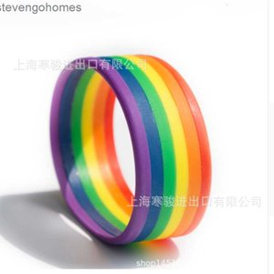 rainbow Wordless silicone bracelet six layer color gay blank star wristband