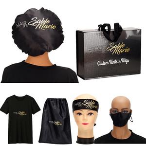 Custom Virgin Hair Bundle Packaging Satin Mask Satin Bags  Hang Tag   Bundle Wraps Bonnets Headband  Hair Box T-shirt Q1126