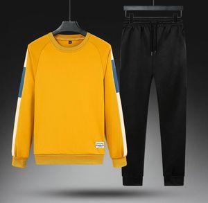 Men Sportswear Set Winter Spring Patchwork Hoodies Set Mens Tracksuit Hip Hop Sweatshirt+pants Male Casual Two Pieces Track Suit