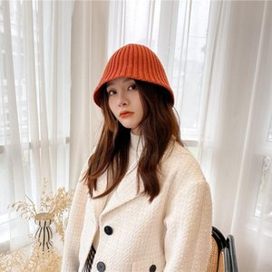 Japanese series small hole stripe knitted Bucket Hat Women's solid color leisure fisherman's hat autumn and winter woolen basin