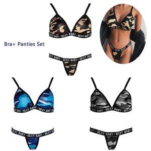 1 pc Summer Women Fashion Sexy Camouflage Bra + Panties Set Halter Neck Letter Printed Bra G-String Suit Underwear Nightwear