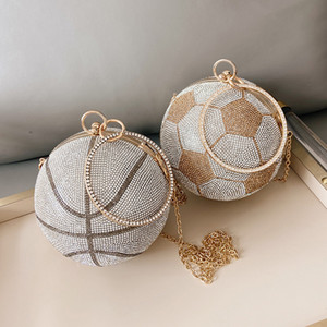 Embrayage de diamant de luxe pour femmes Basketball Football Football Football Sac à main et sac à main en or argent Sac Soirée 2021bolos Q1204
