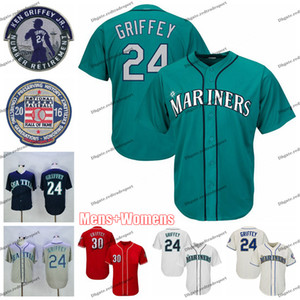 NCAA Mens Vintage 2016 명예의 전당 24 Ken Griffey Jr. Teal 야구 저지 30 Ken Griffey Jr. Red Shirts 은퇴 한 패치 Womens