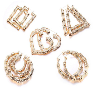 Luxury Jewelry Heart Round Shaped Ethnic Large Vintage Rose Gold Plated Bamboo Hoop Earrings 5 styles mixed for Women