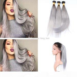 Ombre Couleur Pré-cueillie 360 Frontal avec cheveux droits 3 Bundles Ombre 1B Grey Hair Hair Hair Hair Extension avec 360 Dace Band frontale