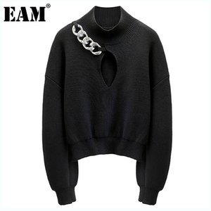 [EAM] Black Hollow Out Knitting Sweater Loose Fit Turtleneck Long Sleeve Women Pullovers New Fashion Autumn Winter 2021 1DD1051