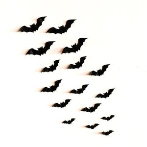 Halloween 3d Bat Wall Sticker, 12 Vivid Pvc Stickers, Universal Poster For Bedroom And Living Room Decoration, Black