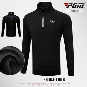 Pgm Men'S Golf Winter Shirt With Fleece Warm Coat Outdoor Fleece Jacket Sports Man Zip Collar Long Sleeves Pullover Size M-XXXL