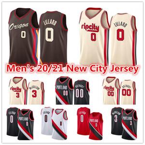 Erkekler 2021 Damian 0 Lillard Jersey Kırmızı Siyah Beyaz CJ 3 McCollum Carmelo 00 Anthony City Brown Edition Basketbol Formaları
