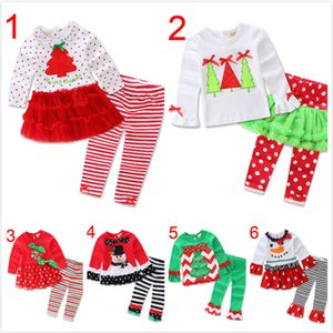 Baby Christmas Outfits Girls Cartoon Snow Man Ruffle Striped Costume Kids Casual Clothes Dot Bow Boot Cut Pants Flare Sets Lababy 1106