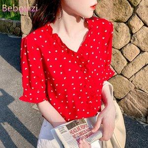 2021 Fashion Korean Summer Red V-neck Office Lady Short Sleeve Women's Blouse and Tops Chiffon Elegant Shirt Clothing Sheining