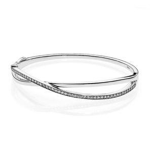 Otantik 925 Ayar Gümüş Endwined Clear CZ Bileklik Bileklik Kadınlar Için Düğün Hediyesi Fit Jewelry1