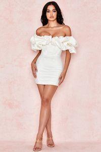 2021 Mujeres Spring Off Shoulder Pleised Sexy Vestido de manga corta Midi Vestido Bodycon Sexy Party Dress 011901