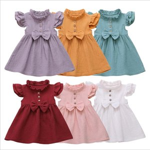 Baby Girls Dresses Children Bow Ruffle Princess Dress Solid Fly Sleeves Patchwork TUTU Dresses Infant Summer Party Birthday Suit WQ147