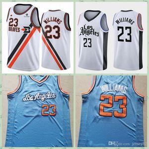 MenloAngeles # Lou # 23 # Williams # coll in the Court Basketball Jersey; 스윙 남자가 농구 유니폼을 바느질합니다.