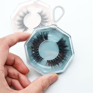 False Eyelash Packaging Box Acrylic Polygonal Eye Lashes Case With Tray Empty Lashes Box With Keychain Bulk And Wholesale Swy sqcDLC