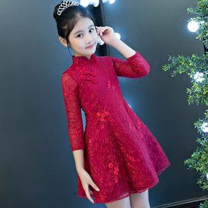 Kid girl elegant chinese style party dress modern cheongsam qipao princess wedding slim a-line casual formal occasion 2019 Q1118