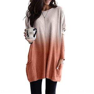 Auriu 2019 Градиент цвет с длинным рукавом Пальто повседневной карманной женской одежды 2019 Градиент цвет с длинным рукавом пальто футболка T-S Повседневная кармана T-S