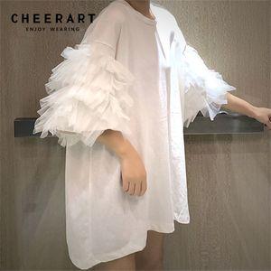 Cheerart Yaz Boy T Gömlek Kadın Kısa Kollu Örgü Üst Pamuk Tees Gömlek Femme Puf Kollu Top Kore Streetwear LJ200820
