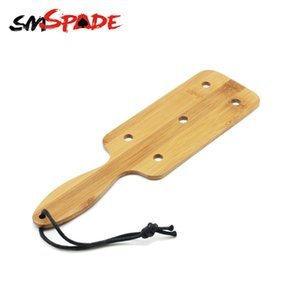 SMSPADE Adult Sex Toys Square Bamboo Paddle with Holes Natural Bamboo Spanking Crop BDSM for Couples SM Bondage Sex Restraints Y201118