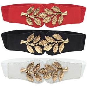 Moda nuova ins dal design di lusso tessuto pu Belle foglie dorate cintura elastica per donna femminile studenti ragazze 60 centimetri