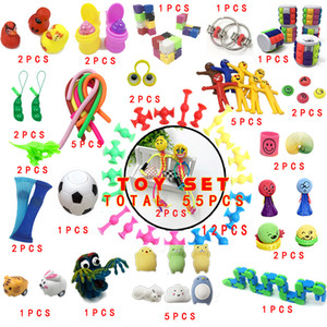 2020 Kids Party Amazing Toy 55 Pieces Extrusive-Solving Fidget Kids Toys Amazon Hot Selling Various Styles Toy Set Wholesale