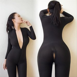 Dame Black Striped Sheer Bodysuit Smooth Fiber 2 Zipper Long Sleeve Sexy Jumpsuit Women Love Game Jumpsuits amp; Rompers