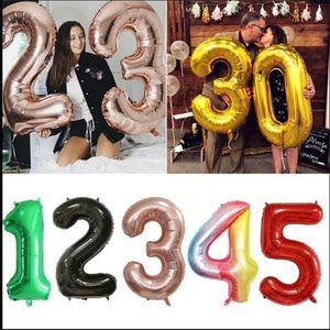 """40 pouces Big Feuille Nombre de ballons 40 """"Giant Greant Grand Balloon 0-9 Numéros Float Ball 2021 Joyeux anniversaire Partie de fête Nouvel An Décor E122301"""