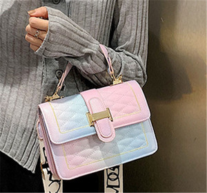 Factory direct high-end rainbow embroidery line tote bag 2020 new Korean version of texture diagonal cross bag one-shoulder bag