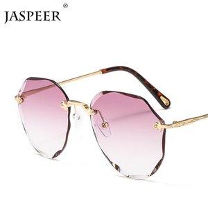 JASPEER Round Sunglasses Men Women Vintage Brand Gradient Sun Glasses Alloy Frame Trend Oversized Shades UV400 Eyewear