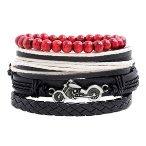 Motorcycle Leather Bracelet Set Jewelry Pulseras Gift For Friends Bijoux Men Accessories Hombre Luxury Homme Masculina Para