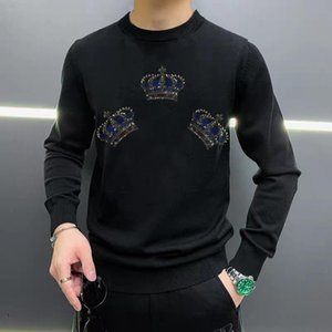 Luxury Soft Thick Oversized Brand Men's Sweater Crown Rhinestone Long Sleeve Winter Top Head Pullover