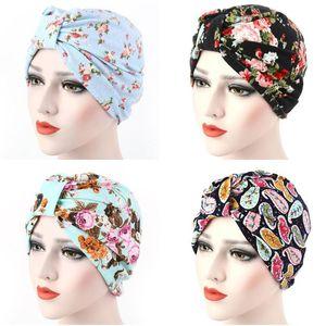 Frauen Muslim Hat Stretch Blumendruck Chemo Krebs Turban Cap-Kopf-Verpackung Unter Schal Arabische Bonnet Beanie Skullies Haarausfall