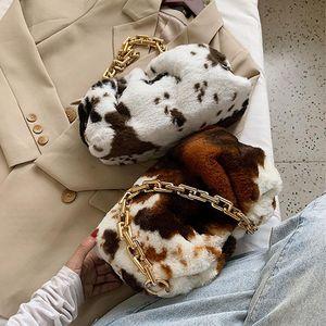 Designer-Soft Faux Fur Shoulder Bag Women 2020 Winter Cow Pattern Chain Handbag Trendy Armpit Bag Lady Underarm Luxury Wallet bolso