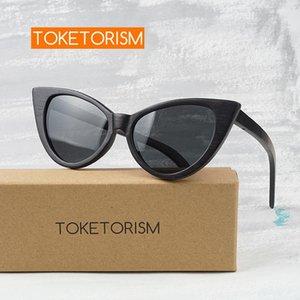 Toketorism Trendy женщины поляризованные очки деревянные CATEYE рама солнцезащитные очки 4303