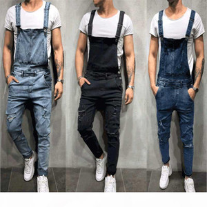 Fashion Mens Ripped Jeans Rompers Casual with belt Jumpsuits Hole Denim Bib Overalls Bike Jean Free Shipping