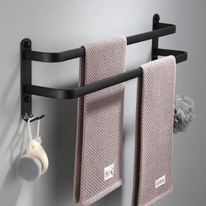 Towel Hanger Wall Mounted 30-50 CM Towel Rack Bathroom Aluminum Black Towel Bar Rail Matte Black Towels Holder