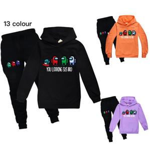 Среди нас детей Tracksuit Детская одежда Комплекты Девочки Мода Спортивные костюмы Толстовки Толстовки + штаны 2 шт Among Us Одежда