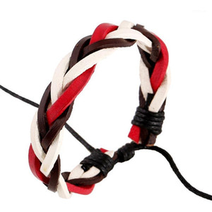 Brown+Red+White Color Hand Woven Leather Bracelets Women Men Manual Wristband Adjustable Size Casual Jewelry Bangles Decoration1