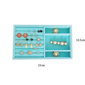 HUNYOO Sky Blue Velvet Suede Ring Earrings Organizer Ear Studs Jewelry Display Stand Stand Showcase Plate Fashion Jewelry Box Z1123