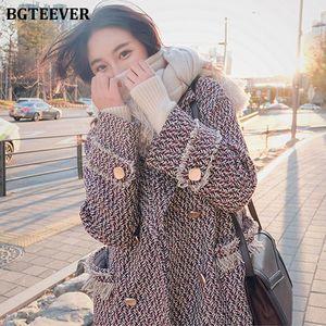 BGTEEVER Retro Houndstooth Woolen Coat Women Double-breasted Thicken Autumn Winter Long Coats Female Tassels Overcoats 2020